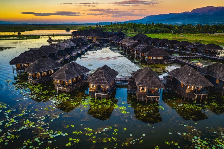 Aerial Photography, Asia, Burma, Inle Lake, Myanmar, Resort, Travel
