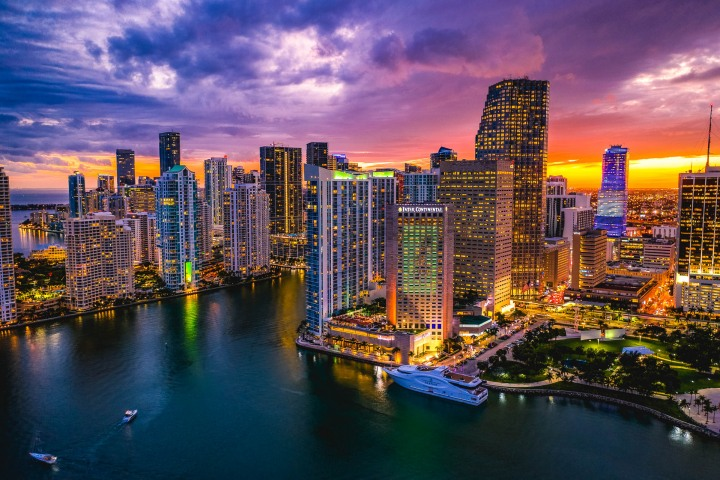 Aerial Photography, Brickell, Downtown, Florida, Miami, North America, Skyline, Sunset, Travel, United States