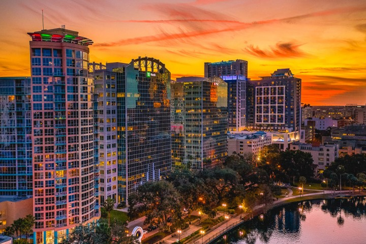 Aerial Photography, AGP Favorite, Downtown, Florida, Lake Eola, North America, Orlando, Skyline, Sunset, Travel, United States